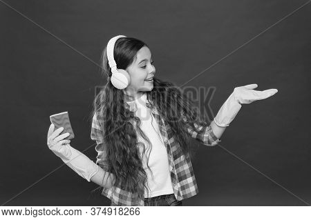 Everything Is Better With Music. Cleaning Party. Girl Wear Headphones And Protective Gloves For Clea