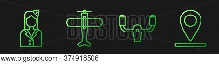 Set Line Aircraft Steering Helm, Stewardess, Plane And Location. Gradient Color Icons. Vector