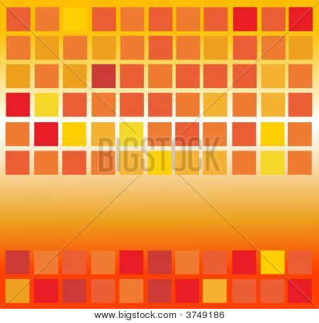 Yellow orange and red square with background poster