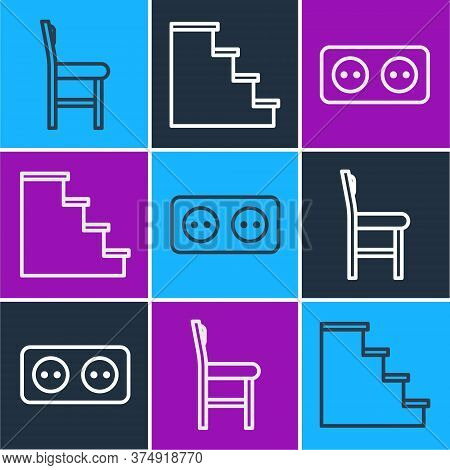 Set Line Chair, Electrical Outlet And Staircase Icon. Vector