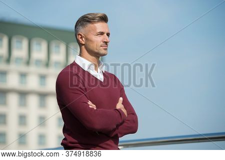 To Be In Thought. Calm And Confident Man Looking Away. Handsome Sexy Man Outdoor. Modern Life Concep