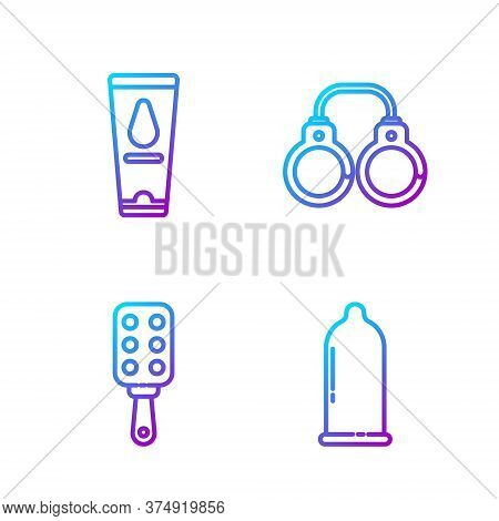 Set Line Condom, Spanking Paddle, Personal Lubricant And Sexy Fluffy Handcuffs. Gradient Color Icons