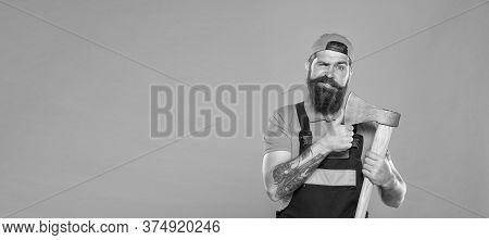 Making His Beard Shape. Agriculture And Forestry Theme. Power And Strength. Danger Concept. Brutal L
