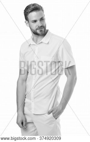 Spring Collection. Casual Style. Man Posing Confidently. Man Attractive In Casual Shirt. Fashion Mod