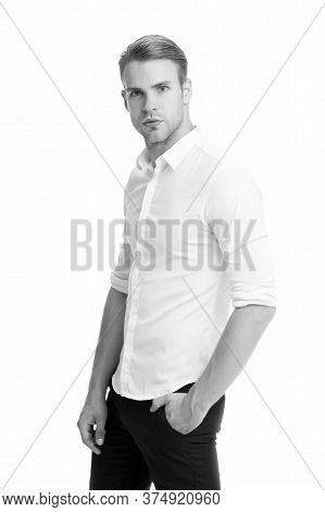 Handsome And Attractive. Handsome Man Isolated On White. Stylish Guy Look Handsome. Mens Grooming. F