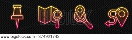 Set Line Search Location, Push Pin, Search Location And Route Location. Glowing Neon Icon. Vector