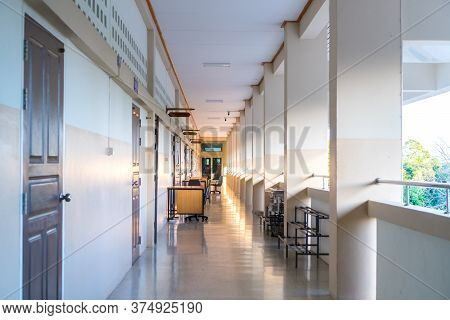 High School Hallway Corridor In College Or University Empty Hall At Classroom, No People Student Whi