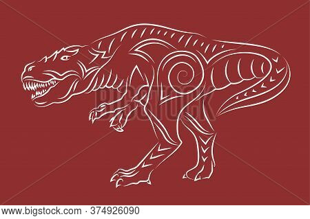Beautiful Hand Drawn Linear Tribal Illustration With White Tyrannosaurus Silhouette Isolated On The