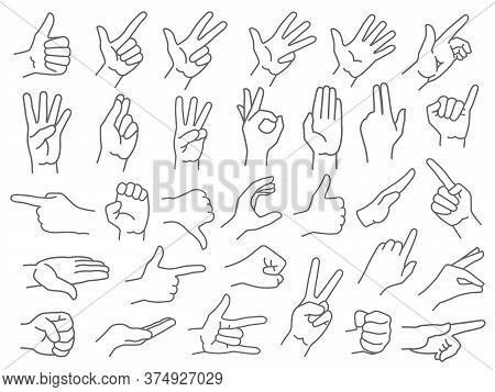 Line Hands Gestures. Like And Dislike Hand Gesture Icon, Pointing Finger And Strong Fist Icons Vecto