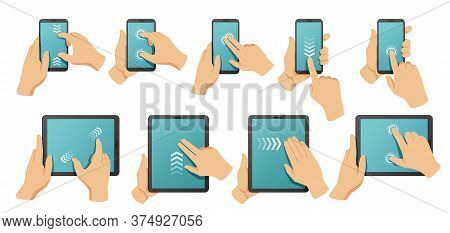 Touchscreen Gestures. Hands On Smartphone And Tablet Multi Touch Screen. Pinch To Zoom, Swipe And Cl