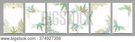 Floral Ornament Card Frame. Plant Branches Border, Vintage Frame Design With Flowers And Leaf Vector