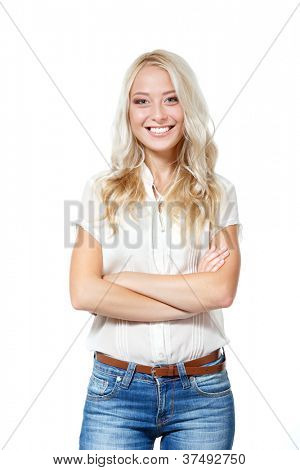 Beautiful blond young woman looking at camera and happy smiling. Isolated on white background