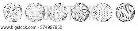 Abstract 3d Dots Sphere. Vector Set Of Sphere Shape Design With Abstract Black Dots, Global Halftone