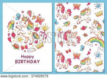 Magic Cute Unicorn Greeting Card. Cartoon Vector Template Greeting Card, Cartoon Unicorn And Birthda