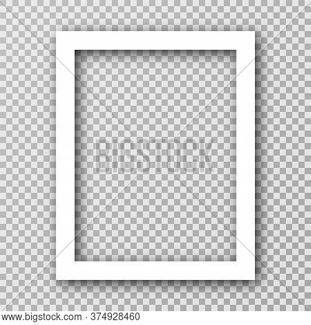 White Photo Frame For Social Media With White Borders. Blank Photo Frame Mockup With Shadow Effect A