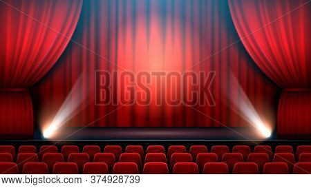 Theater Show Stage Interior With Red Curtain, Spotlight And Theater Chairs. Entertainment Show Theat