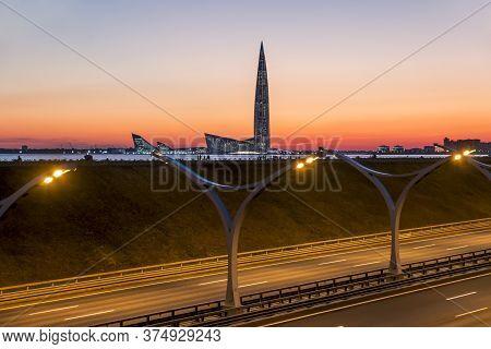Saint-petersburg.russia.june 24, 2020.view Of The Gazprom Skyscraper In Saint Petersburg At Sunset