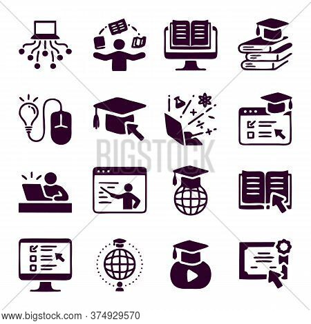 Online Education Icons Set Collection. Includes Simple Elements Such As Video Tutorials, E-learning,