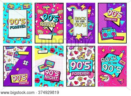 Retro 90s Poster. Nineties Forever, Funky 1990s Music Night Party Posters And Pop Flyer Card Vector