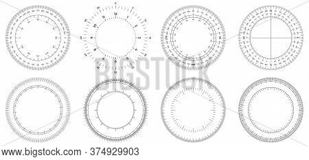 Round Measuring Circles. 360 Degrees Scale Circle With Lines, Circular Dial And Scales Meter Vector