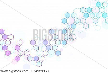 Abstract Hexagonal Molecular Structure. Hexagons Wave, Geometric Data Backdrop And Futuristic Techni