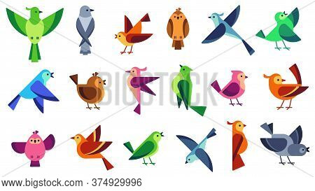 Flat Birds. Flying Chickadees Bird, Tweeting Dove And Wild Sparrow. Wildlife Animals Vector Illustra