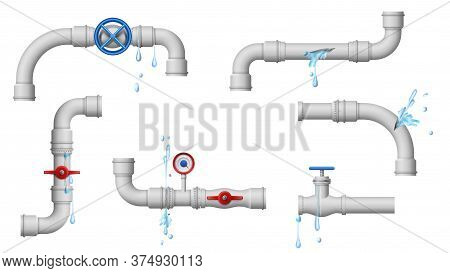 Damaged Leaky Pipes. Water Pipe Leaks, Broken Metal Plumbing And Leak From Pipes And Joints Vector I