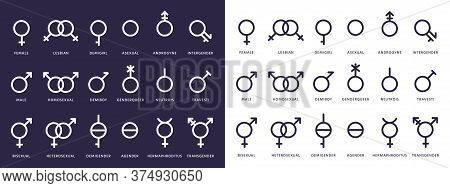 Gender Symbol Icons. Genderqueer, Transgender And Lesbian, Bisexual Pictograms. Lgbt, Demiboy And Ga