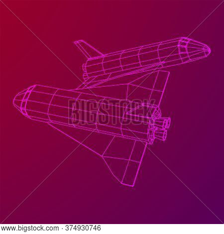 Space Ship Shuttle. Wireframe Low Poly Mesh Vector Illustration.