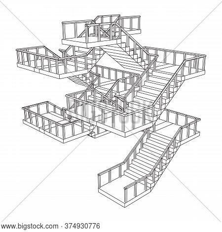 Wireframe Stairs, Interior Staircases Steps With Railing. Wireframe Low Poly Mesh Vector Illustratio