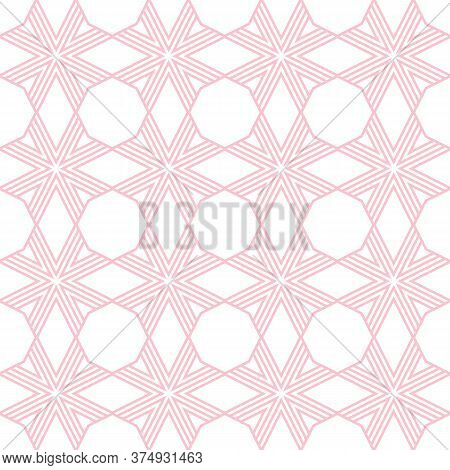 Vector Geometric Seamless Pattern. Simple Linear Background With Stripes, Diagonal Lines, Grid, Net,