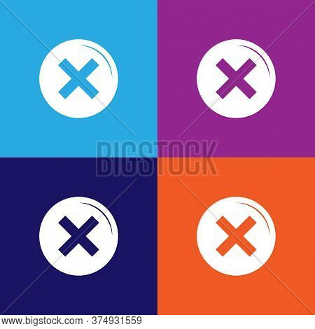Not Dont Illustration Icon On Multicolored Background