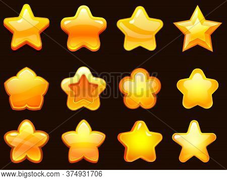 Game Ui Star. Cartoonic Glossy Stars Shapes, Shiny Star For Games. Cartoon Gaming Elements Vector Il