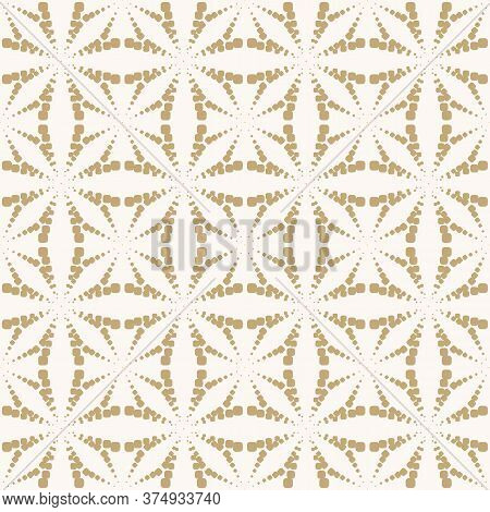 Golden Vector Geometric Dotted Seamless Pattern. Simple Minimal Texture With Halftone Dots, Crosses,