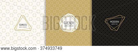 Vector Golden Minimalist Seamless Patterns With Stylish Modern Labels. Elegant Gold Geometric Textur