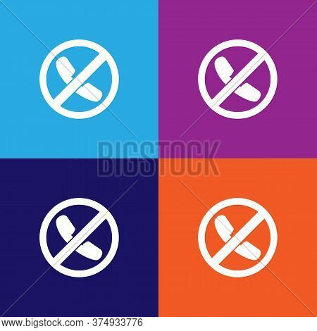Forbidden Call, Prohibited Sign Illustration Icon On Multicolored Background