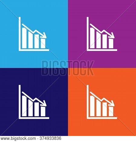 Bars Descending Graph Illustration Icon On Multicolored Background