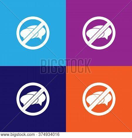 No Talking, Prohibited Sign Illustration Icon On Multicolored Background