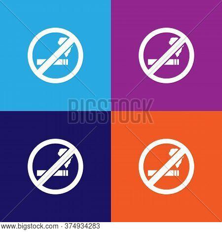 No Smoking, Prohibited Sign Illustration Icon On Multicolored Background