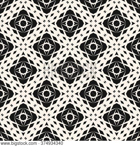 Vector Monochrome Geometric Pattern. Abstract Seamless Texture With Fading Rhombuses, Diamonds, Net,