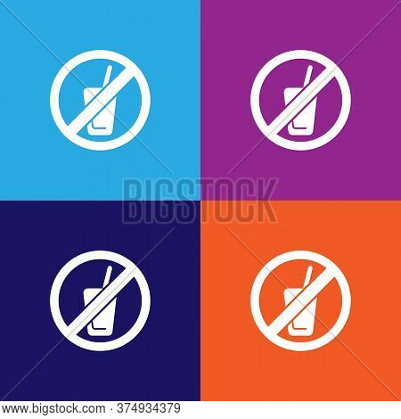No Drink, Prohibited Sign Illustration Icon On Multicolored Background