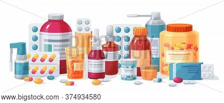 Cartoon Meds. Drugs, Tablet Capsules And Prescription Bottles. Blisters Painkiller Drug Vector Pharm