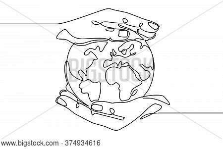 Earth In Hand. Human Hands Holding Earth World Planet. Global Digital Technology, Continuous One Lin