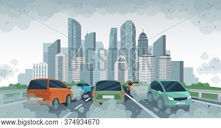 Cars Air Pollution. Polluted Air Environment At City, Vehicle Traffic And Toxic Pollution. Car With