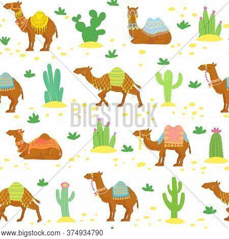 Camel Seamless Pattern. Cute Cartoon Desert Camels Among Cactuses. Egyptian Ethnic Vector Wallpaper