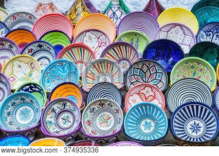 Red, Turquoise, Blue, Red, Orange, Yellow And Pink Decorative And Elaborate Patterns Of Bowls, Dishe
