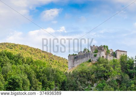 The Ruins Of The Ancient Fortress Of Rocchettine Surrounded By Greenery In The Province Of Rieti In