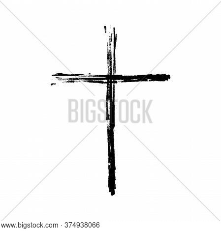Grunge Cross Icon. Simple Hand-painted Cross. Black Christian Cross Sign Isolated On White Backgroun