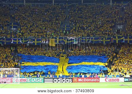 Sweden Fans At Nsc Olympic Stadium During Their Uefa Euro 2012 Game Against England