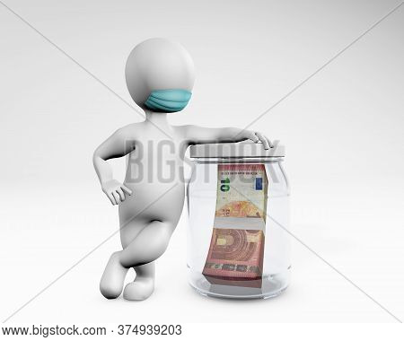 Fatty Man With A Mask Saving Money Euro 3d Rendering Isolated On White